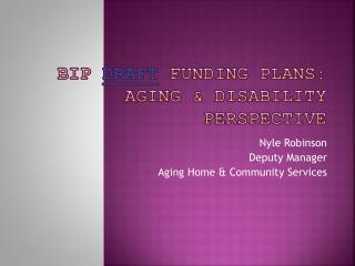 BIP  Draft  Funding Plans: Aging & Disability Perspective