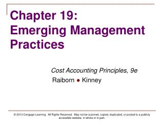 Chapter 19: Emerging Management Practices