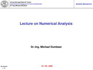 Lecture on Numerical Analysis