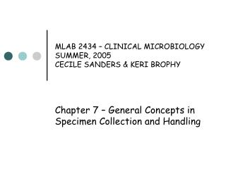MLAB 2434   CLINICAL MICROBIOLOGY SUMMER, 2005 CECILE SANDERS  KERI BROPHY