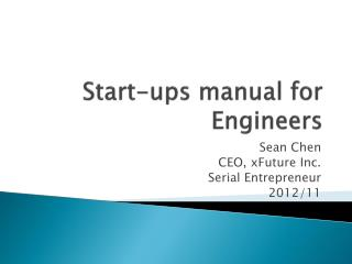 Start-ups manual for Engineers