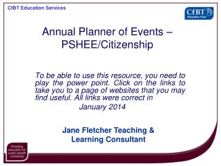 Annual Planner of Events – PSHEE/Citizenship