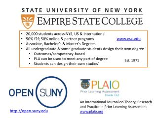 20,000 students across NYS, US & International 50% f2f; 50% online & partner programs Associate, Bachelor's & Master's