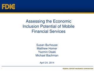Assessing the Economic  Inclusion Potential of Mobile  Financial Services