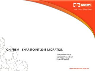 ON PREM - SHAREPOINT 2013 MIGRATION