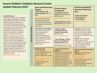 Emory+Children's Pediatric Research Center Update  February  2014