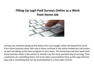 Filling Up Legit Paid Surveys Online as a work from home job