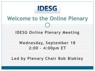 Welcome to the Online Plenary