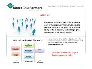 MacroGain Home  I  About Us  I  Contact  I  More Info