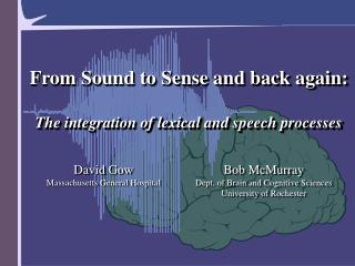 From Sound to Sense and back again:  The integration of lexical and speech processes