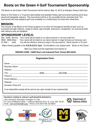 Boots  on the  Green 4  Golf  Tournament Sponsorship