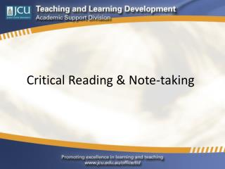 Critical Reading & Note-taking