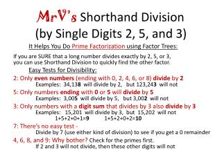 MrV's  Shorthand Division (by Single Digits 2, 5, and 3)