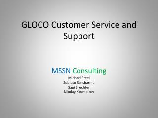 GLOCO Customer Service and Support