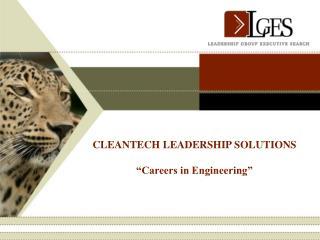 """CLEANTECH LEADERSHIP SOLUTIONS """"Careers in Engineering"""""""