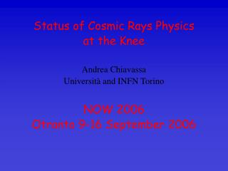 Status of Cosmic Rays Physics  at the Knee Andrea Chiavassa Università and INFN Torino NOW 2006 Otranto 9-16 September