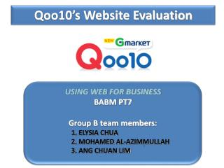 Qoo10's Website Evaluation