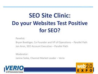 SEO Site Clinic:  Do your Websites Test Positive for SEO?