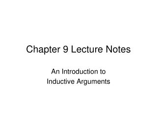 Chapter 9  Lecture Notes