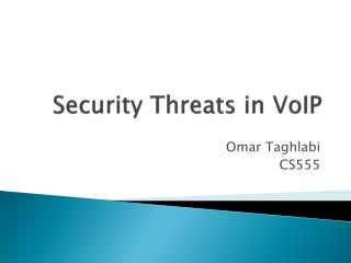 Security Threats in VoIP