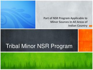 Tribal Minor NSR Program