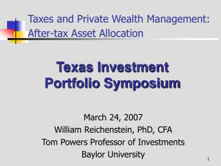 Taxes and Private Wealth Management: After-tax Asset Allocation