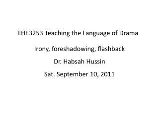 LHE3253 Teaching the Language of Drama