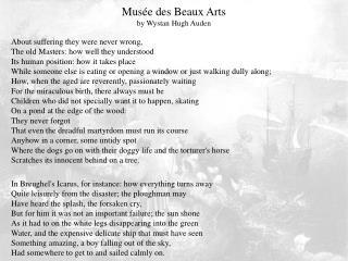 Musée des Beaux Arts by Wystan Hugh Auden
