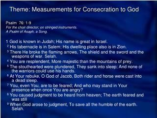 Theme: Measurements for Consecration to God