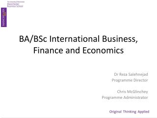 BA/BSc International Business, Finance and Economics