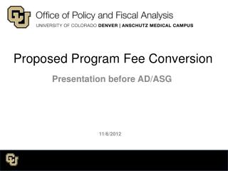 Proposed Program Fee Conversion