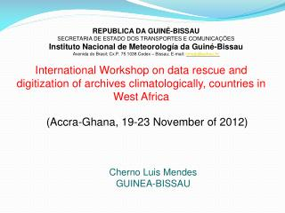 International Workshop on data rescue and digitization of archives climatologically, countries in West Africa