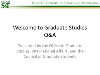 Welcome to Graduate Studies Q&A