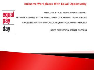 Inclusive Workplaces With Equal Opportunity