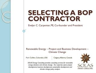 Selecting a BOP Contractor