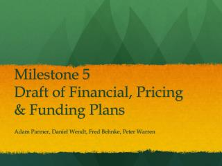 Milestone 5 Draft of Financial, Pricing & Funding Plans