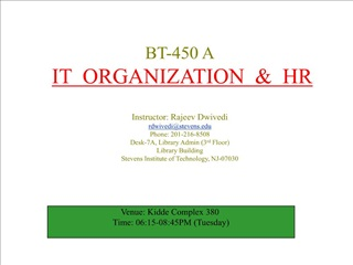 BT-450 A  IT  ORGANIZATION    HR   Instructor: Rajeev Dwivedi rdwivedistevens Phone: 201-216-8508 Desk-7A, Library Admin