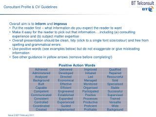 Consultant Profile & CV Guidelines