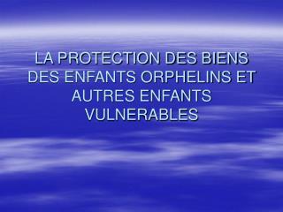 LA PROTECTION DES BIENS DES ENFANTS ORPHELINS ET AUTRES ENFANTS VULNERABLES