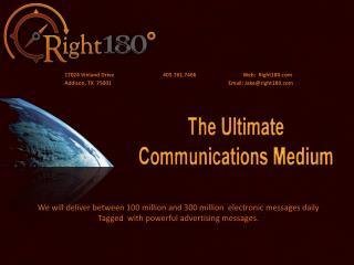 We will deliver between 100 million and 300 million  electronic messages daily Tagged  with powerful advertising messag