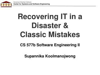 Recovering IT in a Disaster &  Classic Mistakes