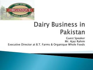 Dairy Business in Pakistan