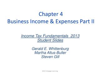 Chapter 4 Business Income & Expenses Part II