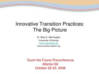 Innovative Transition Practices:  The Big Picture