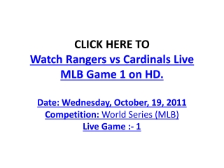 Watch Rangers vs Cardinals Live Streaming MLB World Series G