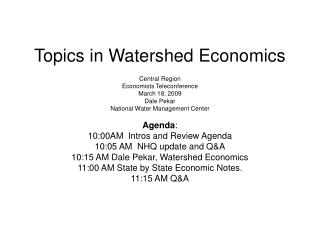 Topics in Watershed Economics