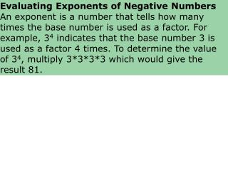 Evaluating Exponents of Negative Numbers