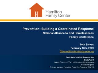 Prevention: Building a Coordinated Response Hamilton Family Center  Partnering in a collaborative effort to prevent fam