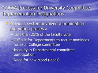 COSFA Process for University Committee Representation Designations