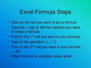 Excel Formula Steps